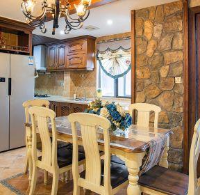 美式鄉村別墅餐廳裝修設計實景圖-每日推薦