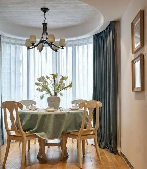 美式餐廳裝修設計 美式餐廳裝修圖 餐廳窗簾裝修效果圖