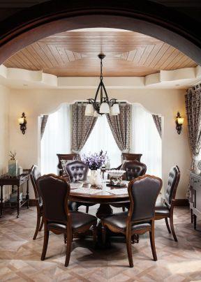 美式別墅餐廳 餐廳木吊頂 別墅餐廳裝修效果圖大全