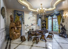 別墅茶室裝修效果圖 根雕茶幾圖片大全