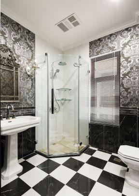 別墅衛生間裝修圖片大全 黑白地磚裝修效果圖片