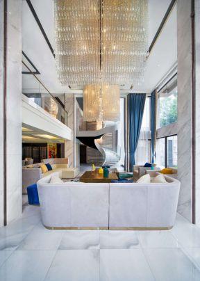 別墅客廳裝修設計圖 客廳水晶燈飾效果圖