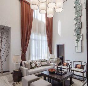 新中式風格別墅客廳窗簾裝修設計圖-每日推薦