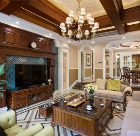 美式風格別墅客廳電視柜裝修設計圖-每日推薦