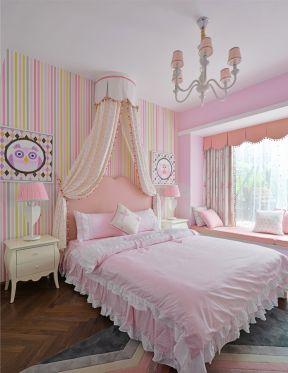 兒童房壁紙貼圖  兒童房壁紙 粉色兒童房裝修圖