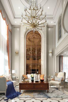 別墅客廳背景墻裝修圖 美式別墅客廳裝修圖片大全