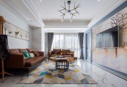 128平新房客廳地毯裝飾效果圖片