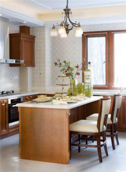 美式別墅廚房中島臺裝修設計圖片