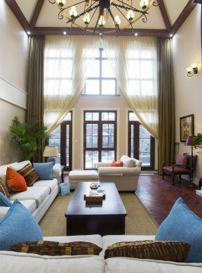 別墅客廳窗簾效果圖 別墅客廳窗簾 美式客廳裝修圖
