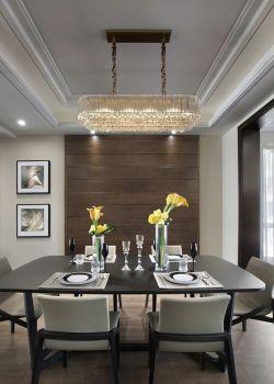 140平大戶型餐廳吊燈裝潢設計圖片