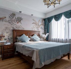 美式風格大戶型臥室床頭壁紙裝飾圖片-每日推薦