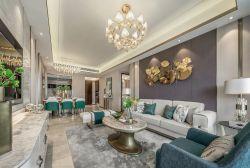 128平四居室樣板房客廳沙發裝修設計圖