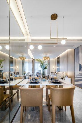 餐廳鏡面背景墻裝修效果圖 餐廳燈具效果圖