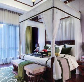 東南亞風格主臥室床幔裝修效果圖片-每日推薦