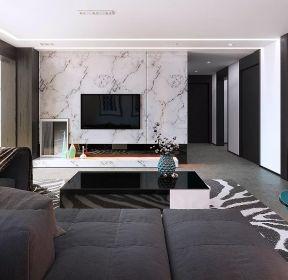 黑白灰風格客廳瓷磚電視墻裝修設計-每日推薦