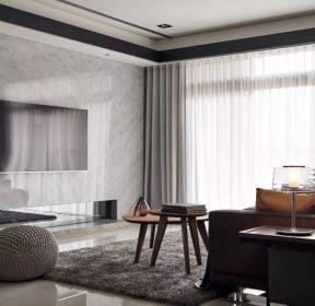 黑白灰風格客廳電視墻瓷磚裝修設計圖片-每日推薦