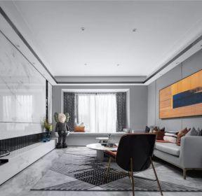 現代簡約風格客廳瓷磚背景墻裝修效果圖-每日推薦