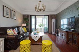 水岸花城现代美式风格116平米三居室装修案例