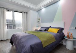 北歐風格樣板間臥室床頭背景墻設計圖片