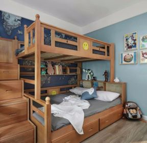 北歐風格樣板間兒童房高低床裝修圖片-每日推薦