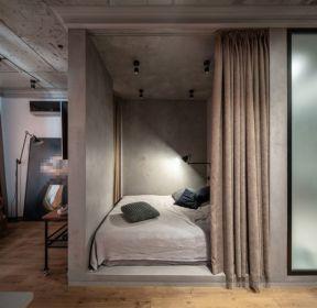 30平米单身公寓卧室隔断帘装修效果图-每日推荐