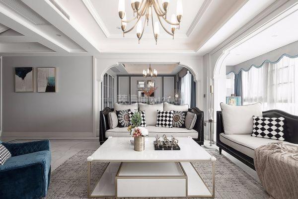 美式轻奢客厅吊顶装修效果图