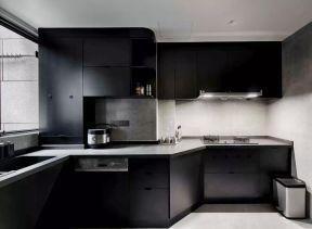 黑色櫥柜裝修效果圖片 黑色櫥柜圖片 現代廚房裝飾圖