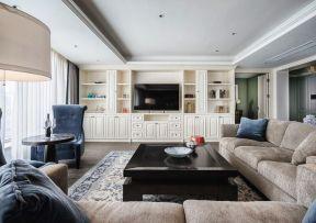 客廳電視柜墻 美式輕奢電視墻裝修效果圖