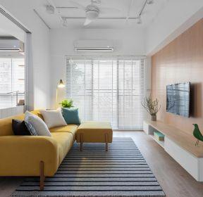 80平米客廳黃色布藝沙發裝修效果圖-每日推薦