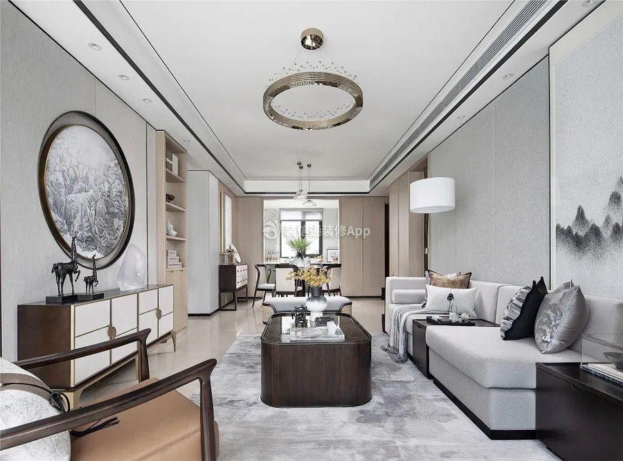 2020三室二厅样板房新中式客厅装修设计图