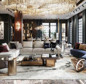 現代輕奢風格370平米客廳沙發效果圖-每日推薦