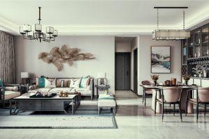 中洲花溪樾118平米现代中式风格三居室装修案例