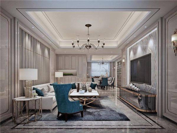 轻奢风格客厅吊顶设计图片
