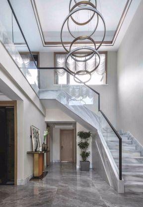 楼梯玻璃扶手图片 别墅楼梯装修效果图大全