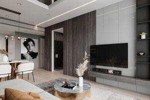 溪湾雅苑120平米现代轻奢风格三居室装修案例