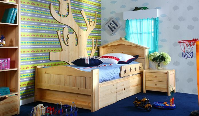 童话森林现代双层实木儿童床