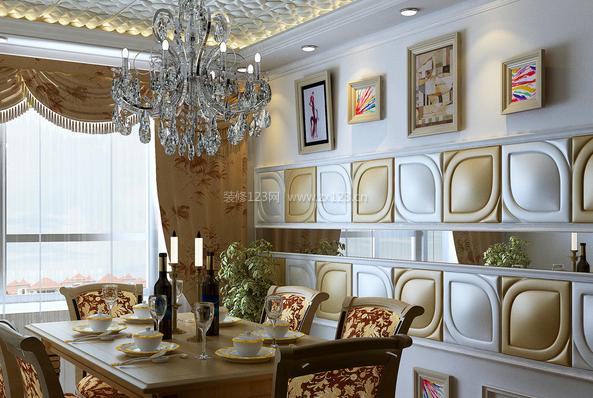所以其背景墙比较适合欧式古典奢华风,可以选择古典实木型的餐桌来图片