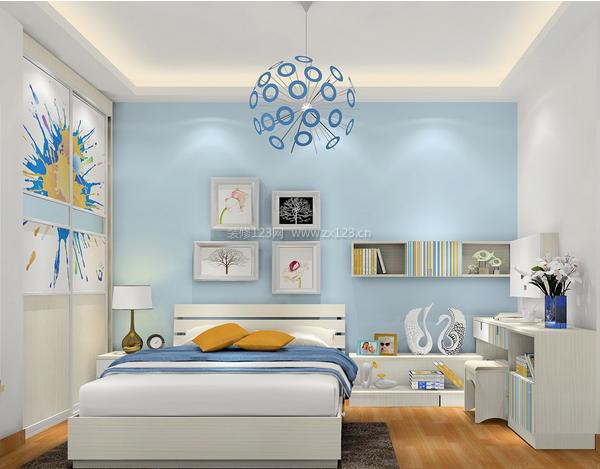 蓝白卧室装修效果图