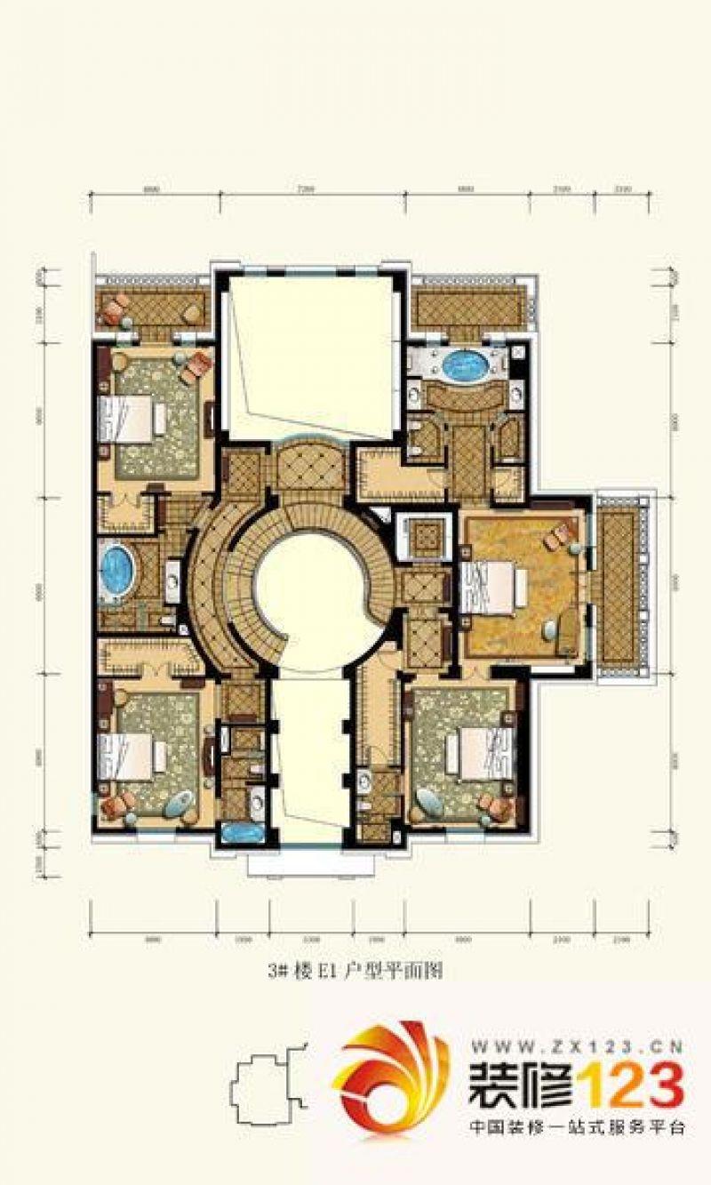 北京御园御园户型图圆厅别墅2户型图(售完) 4室3厅2卫