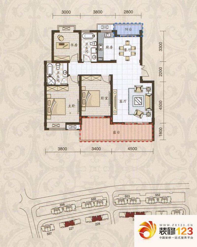 米兰风景户型图花园洋房e4户型图 .