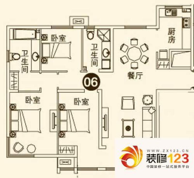 首开理想城户型图二期4#楼06室户 .
