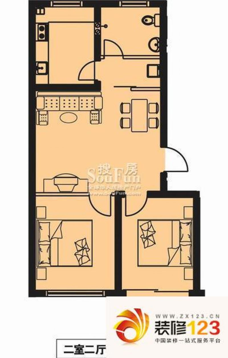 蛇口海滨花园78平房子平面图