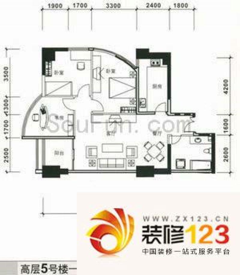 中天国际公寓户型图3室2厅1卫1厨 .