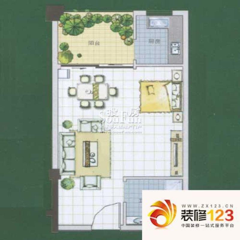 尚林家园户型图精致一居 1室1厅1 .