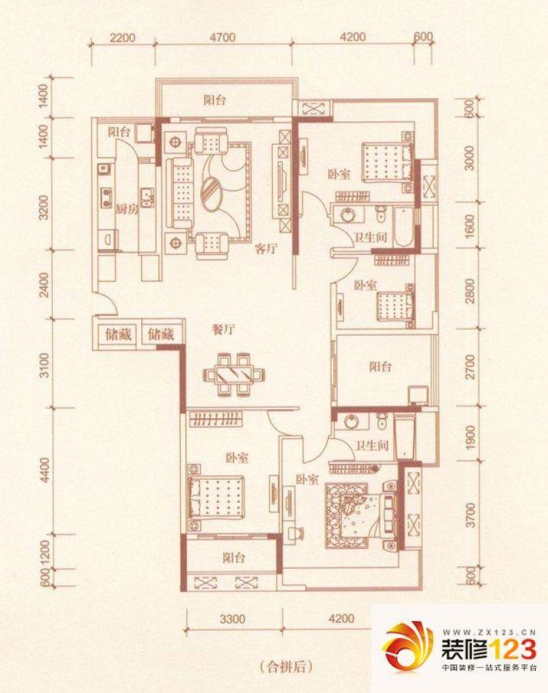 金地格林上院三期户型图k-7 4室2 .