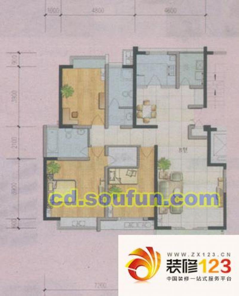 罗兰小镇户型图b型 3室2厅2卫1厨 .