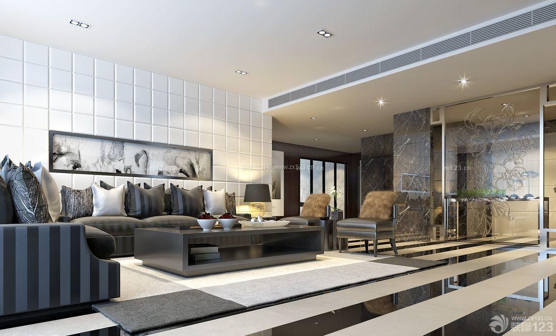 经典房屋客厅黑白相间地砖设计图欣赏