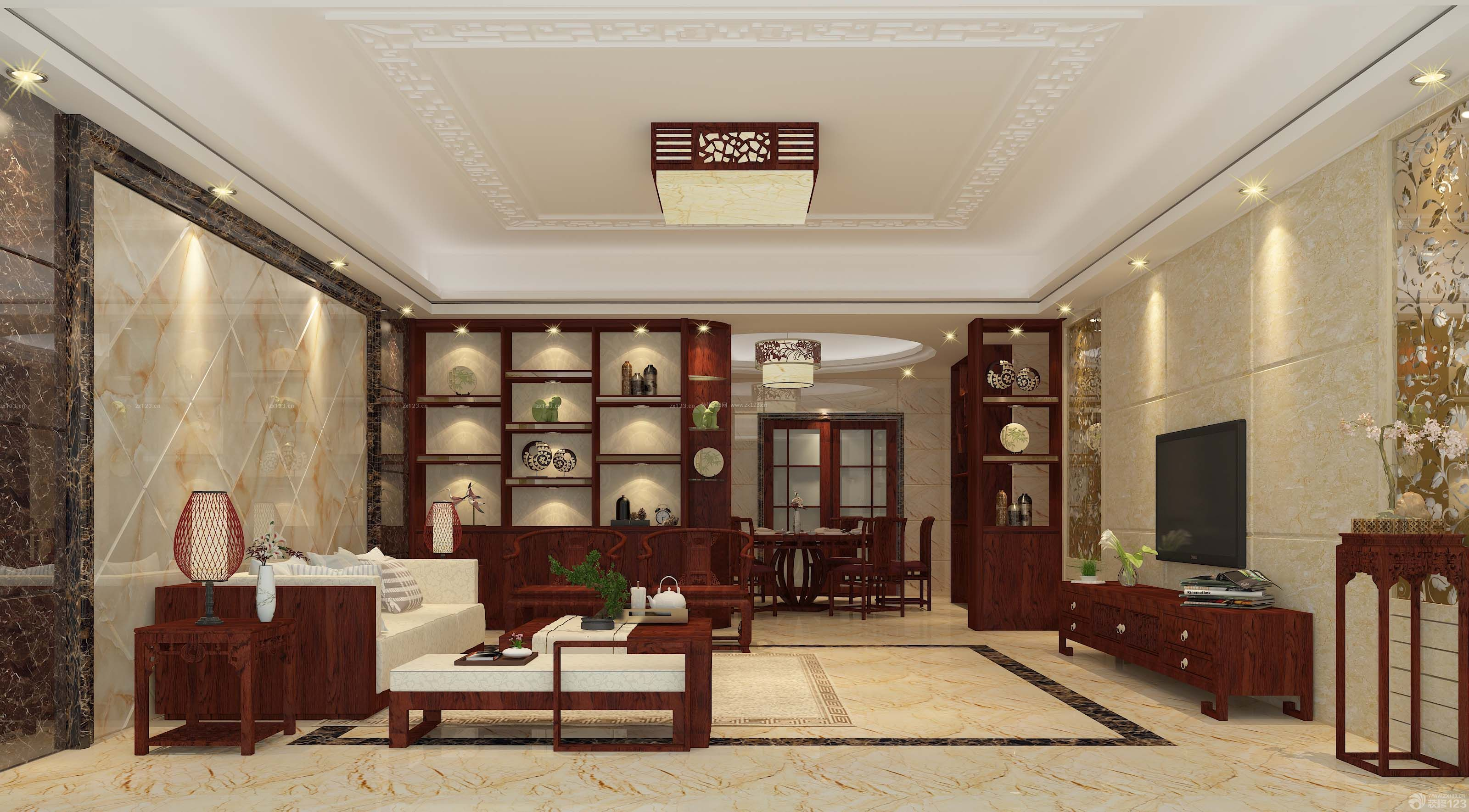 现代简约中式餐厅博古架隔断图片展示