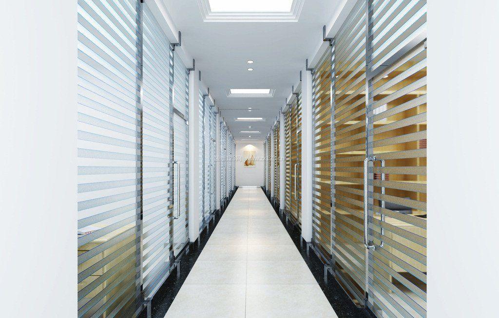 现代办公室走廊玻璃墙效果图欣赏