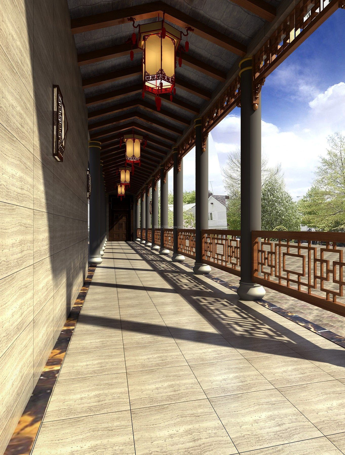 中式走廊吊顶效果图片来了